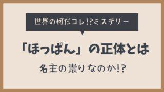 ほっぱんとは?土佐(高知県)で起きた村人を襲った祟りの正体とは?