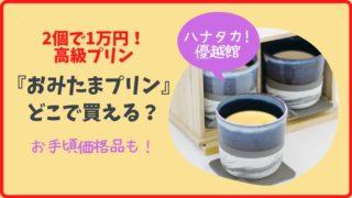 【ハナタカ】2個で1万円のプリン『おみたまプリン』はどこで買える?通販は