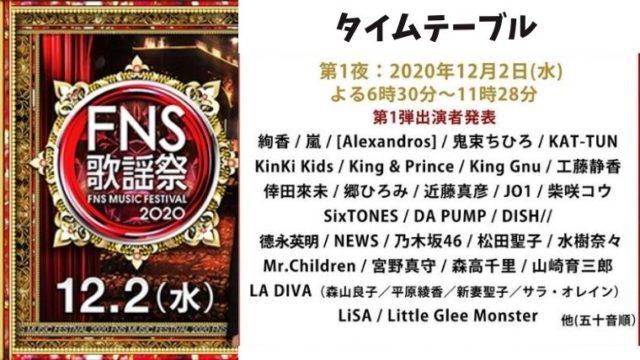FNS歌謡祭 第1夜(2020年12月2日)のタイムテーブルをリアルタイムで!出演者・JO1の出演時間は?
