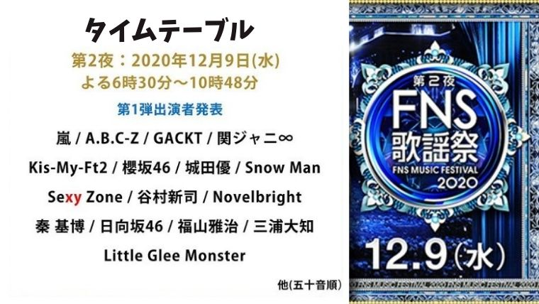 FNS歌謡祭 第2夜(2020年12月9日)のタイムテーブルをリアルタイムで!出演者・Snow Manの出演時間は?